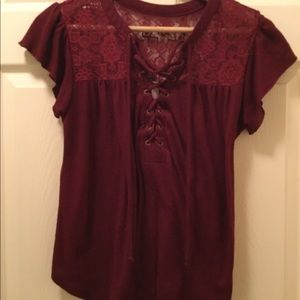 NOBO Burgundy Lacy Cap Sleeve Lace-Up Blouse.  M